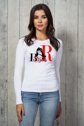 Блузка 3015-LG белый дл. рукав