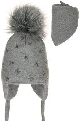 Комплект ANDER 8004-8004_1 шапка+косынка 6-12 мес. тёмно-серый
