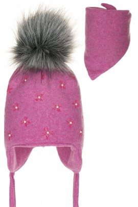 Комплект ANDER 8004-8004_1 шапка+косынка 6-12 мес. тёмно-розовый