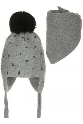 Комплект ANDER 8005-8005_1 шапка+косынка 6-12 мес. серый