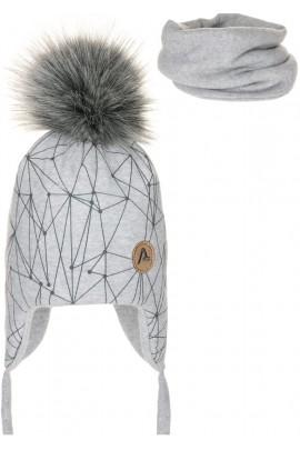 Комплект ANDER 8013-8013_1 шапка+снуд 2-3 года светло-серый