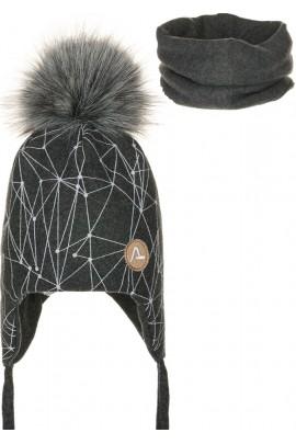 Комплект ANDER 8013-8013_1 шапка+снуд 2-3 года графит