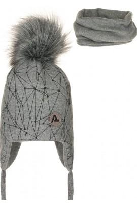 Комплект ANDER 8013-8013_1 шапка+снуд 2-3 года серый