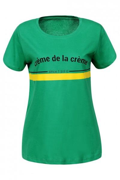 Блузка MARTAR MR-8888 Сливки общества зелёный хлопок