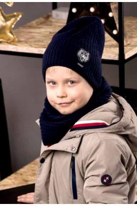 Шапка JAMIKS Gustavo на 7-10 лет тёмно-синий шерсть