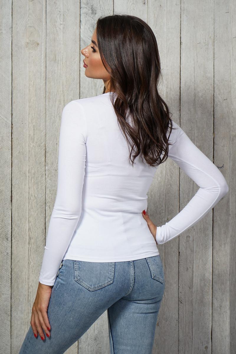 Блузка 3006-LG белый дл. рукав
